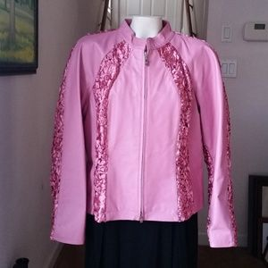 Pamela McCoy Pink Leather/Ribbon Jacket
